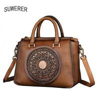 SUWERER 2020 New Women Genuine Leather bag fashion Luxury handbags women famous brand leather bags tote women shoulder bag