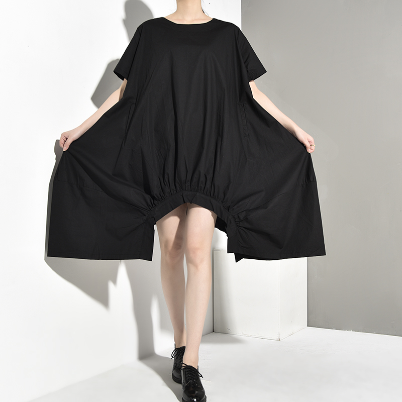 New Fashion Style Black Loose Irregular Hem Hollow Out Big Size Dress Fashion Nova Clothing