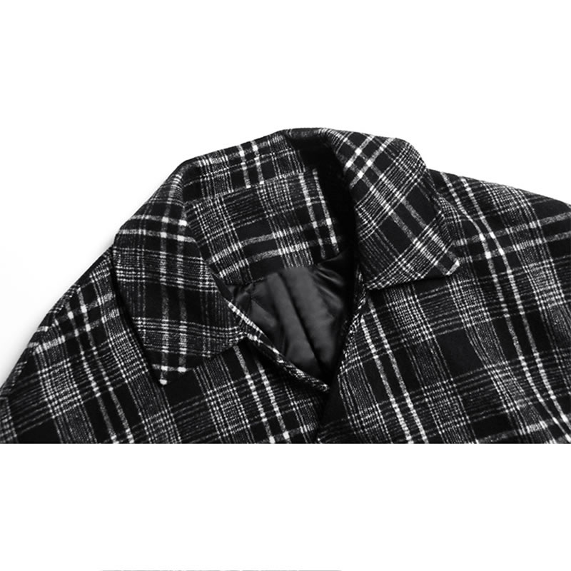 Image 5 - XITAO Vintage  Lattice Woolen Coat Thicken Keep Warm Autumn  Winter Women Coats Long Plus Size Top Women Streetwear GCC2589Wool