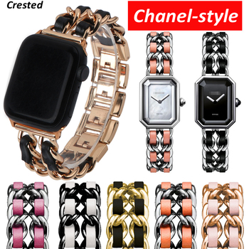 Strap for Apple watch Series 5 4 3 38/40/44mm iWatch band 38mm 42mm Leather+Stainless steel Bracelet Apple watch band 40mm 44 mm bumvor for apple watch band 38 42mm black gold stainless steel bracelet buckle strap clip adapter for apple iwatch