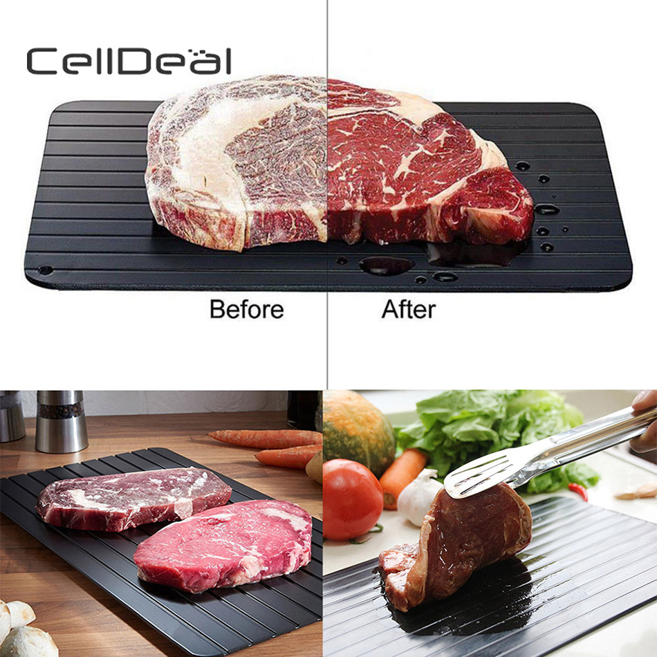 CellDeal Fast Defrosting Tray Thaw Frozen Food Meat Fruit Quick Defrosting Plate Board Defrost Kitchen Gadget Chopping Board image