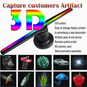 Image 1 - 3D הולוגרמה פרסום מאוורר מקרן אור תצוגה הולוגרפית LED holograma wifi מותאם אישית תמונות קטעי וידאו 224 מנורת חרוזים