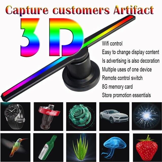 3D הולוגרמה פרסום מאוורר מקרן אור תצוגה הולוגרפית LED holograma wifi מותאם אישית תמונות קטעי וידאו 224 מנורת חרוזים