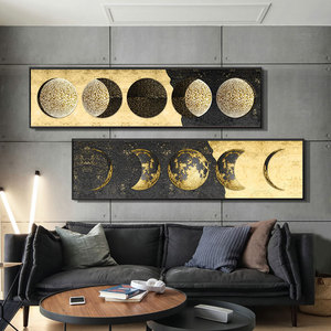 Golden Art Canvas Painting Gold Foil Moon Canvas Art Posters and Prints Big Size Wall Pictures for Living Room Decor Cuadros