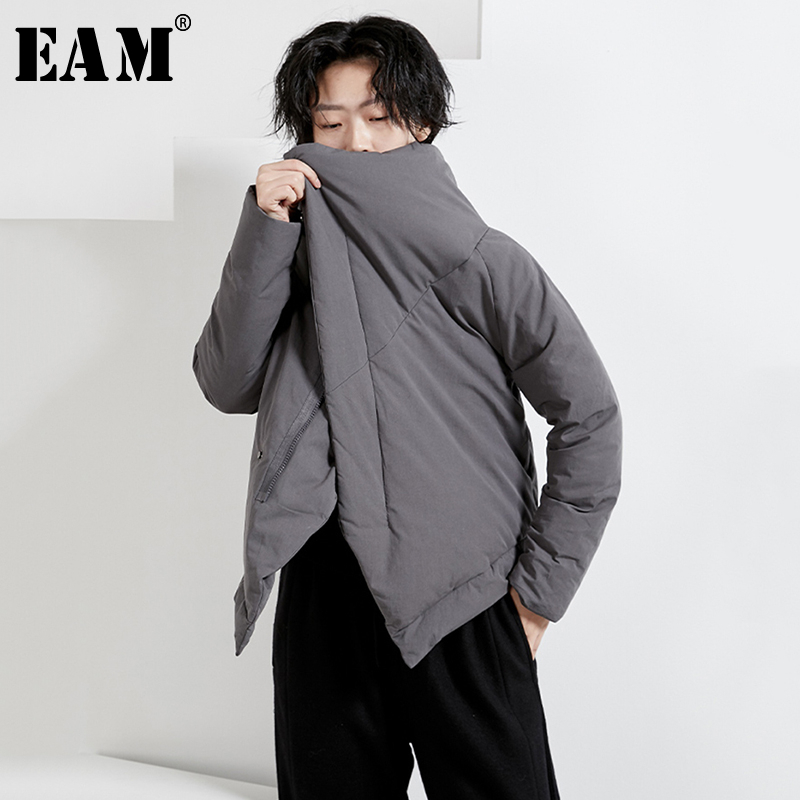 [EAM] Loose Fit  Big Size Short Warm Big Size Down Jacket New Long Sleeve Warm Women Parkas Fashion Spring Autumn 2020 1N269