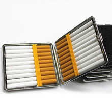 1 Pcs Black Leather Metal Smoking Cigarette Case 20