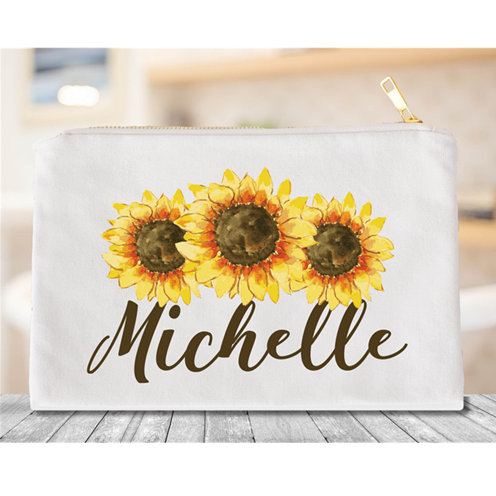 Personalized sunflower Cosmetic Bag maid of honor Makeup Bags Monogram bridal shower toiletry Bags Bridesmaid Gifts Makeup Case