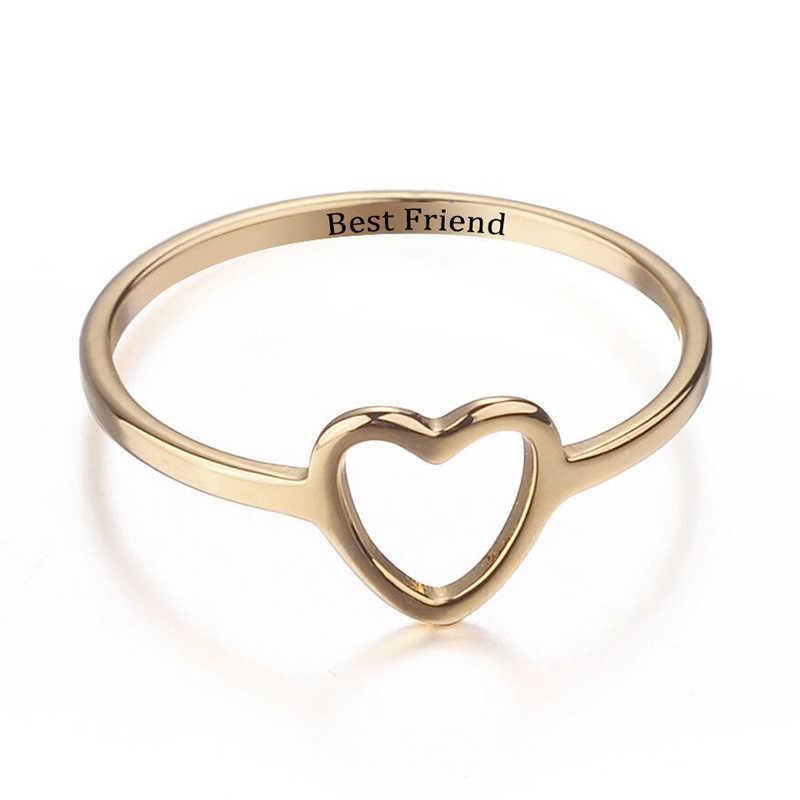 2019 חדש 1pcs הטוב ביותר חבר טבעות מתנה טבעת ילדה מבטיחים חמה נשים ידידות תכשיטי אהבת לב זהב כסף עלה זהב