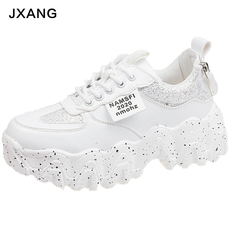 JXANG Women Chunky Sneakers Fashion Platform Ladies Casual Shoes  Lace INS Brand Woman Vulcanized Shoes Walking 2020 Spring