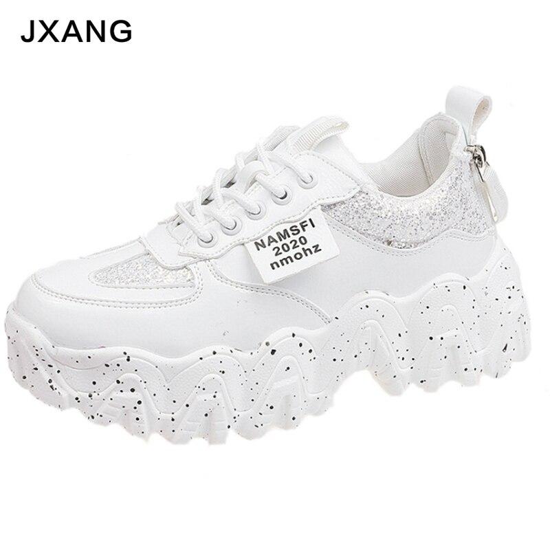 JXANG Women Chunky Sneakers Fashion Platform Ladies Casual Shoes Mesh Lace INS Brand Woman Vulcanized Shoes Walking 2020 Spring