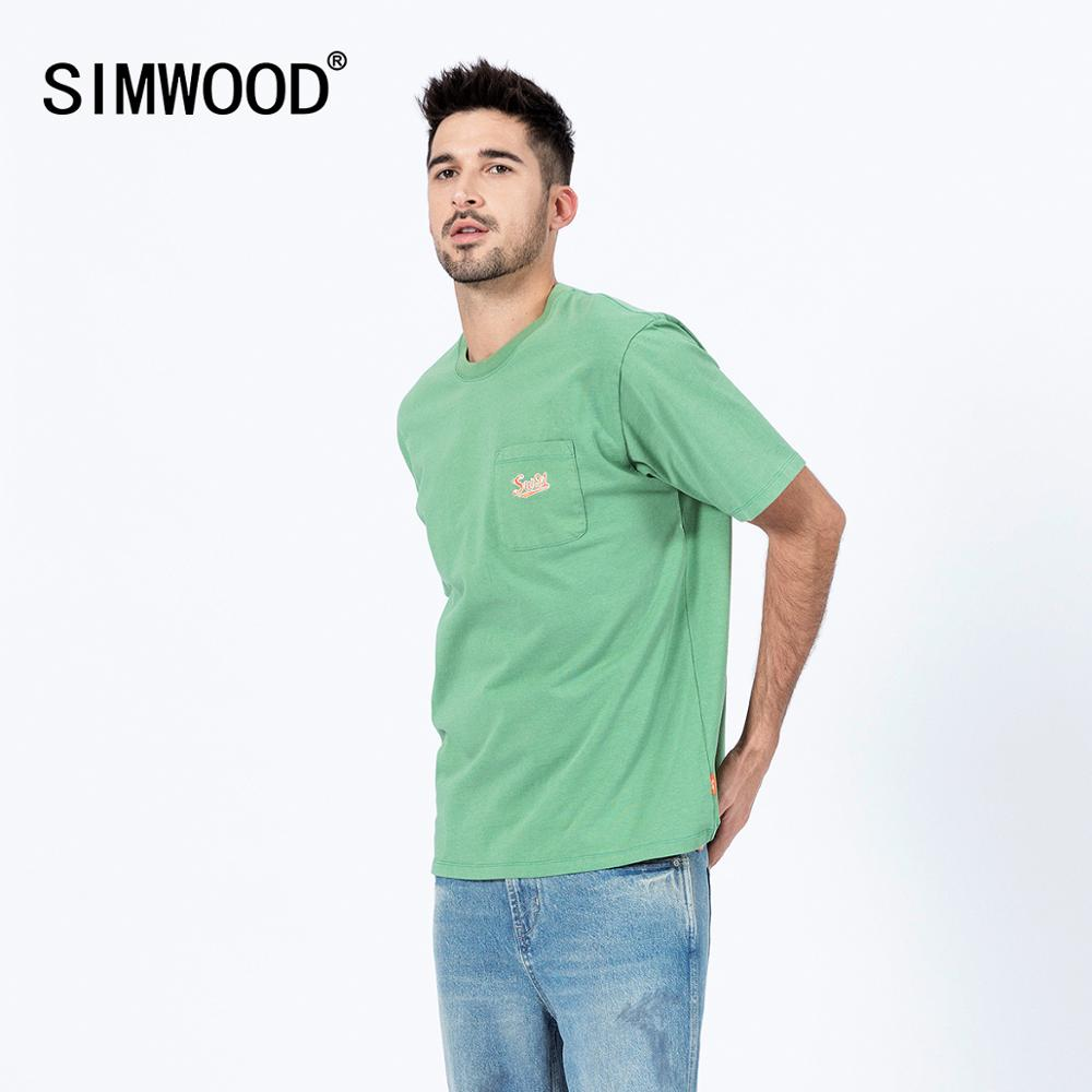 SIMWOOD 2020  Chest Pocket T-shirt Men Fashion Spring Summer New Embroidery Logo 100% Cotton Slim Fit Tops Fashion Tees SJ120012
