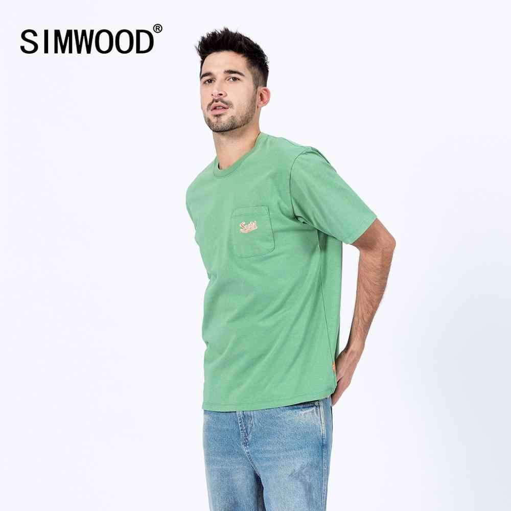 Simwood 2020 Saku Dada Kaos Pria Fashion Musim Semi Musim Panas Bordir Logo 100% Katun Slim Fit Atasan Fashion Tees SJ120012