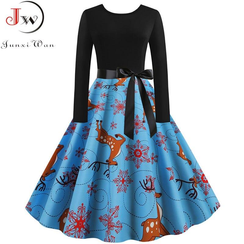 Fashion Women Long Sleeve Christmas Dress 2019 Autumn Winter Elegant Vintage Black Patchwork Print Party Dress Robe Plus Size