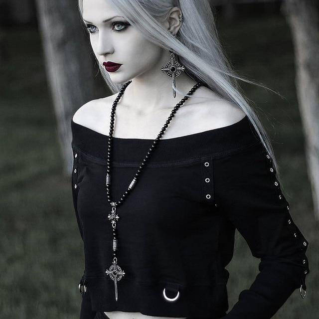 Black goth hoodie with off shoulders