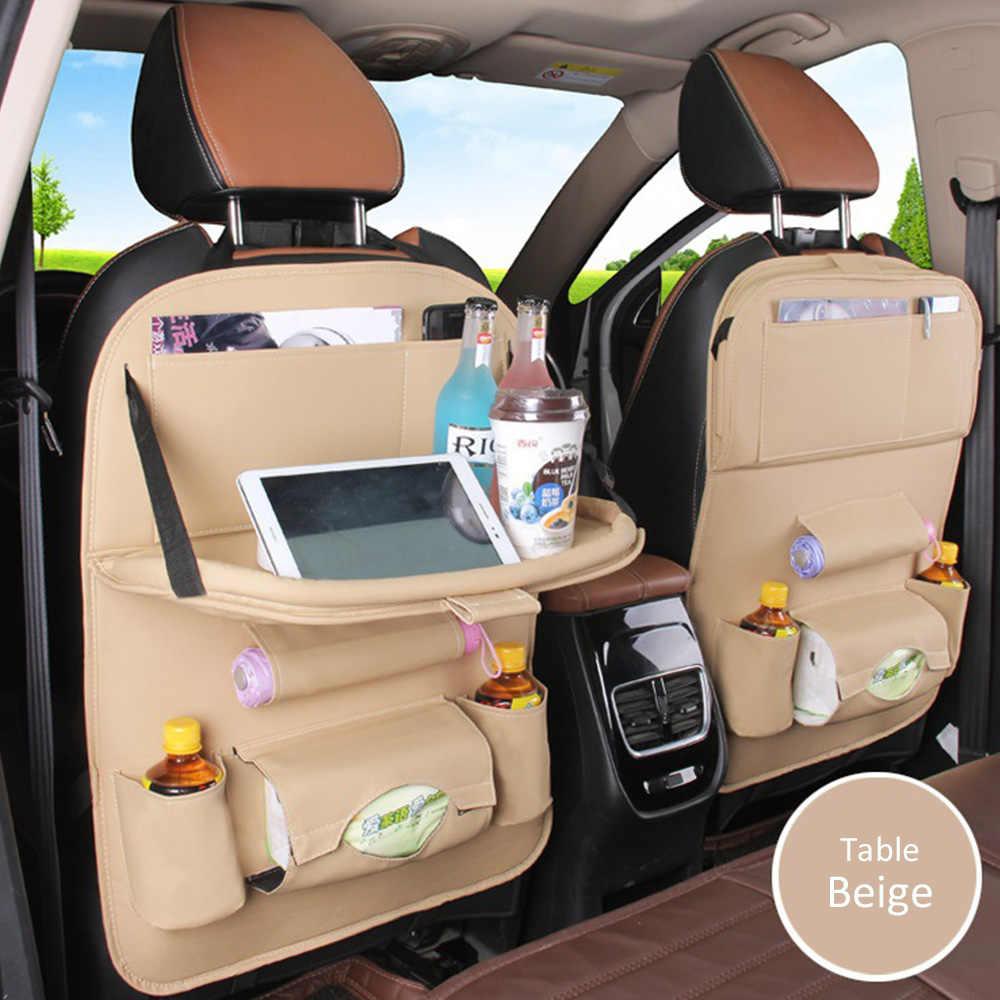 Foldable Car Seat Back Hanging Organizer Bag Universal Auto Multi-pocket Shelf Pad Cups Storage Holder Bag