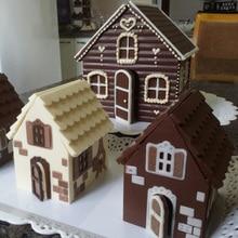 2ピース/セット3Dクリスマスジンジャーブレッドハウスシリコンモールドチョコレートケーキ金型キッチンdiyビスケットケーキベーキングツール22x16cm