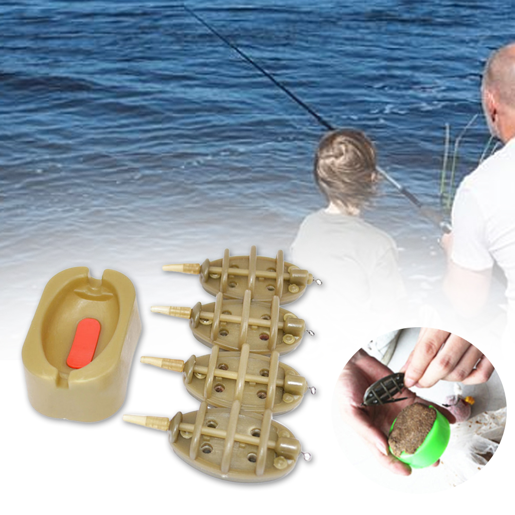 Bait Thrower Multiple Size Tools Easy Apply Outdoor Portable Flat Method Durable Practical Mold Carp Fishing Inline Feeder image