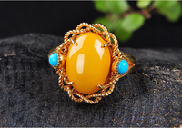 Natural honey wax Turquoise Ring female silver plated amber green 925 Silver Ring fashion accessories free of freight