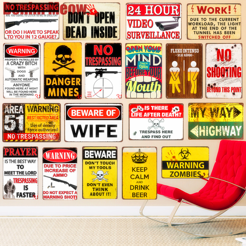WARNING ZOMBIES Plaque 51 Area Vintage Metal Tin Signs Home Bar Pub Decorative Plates Warning Sign Wall Stickers Art Poster N207 Plaques & Signs    - AliExpress