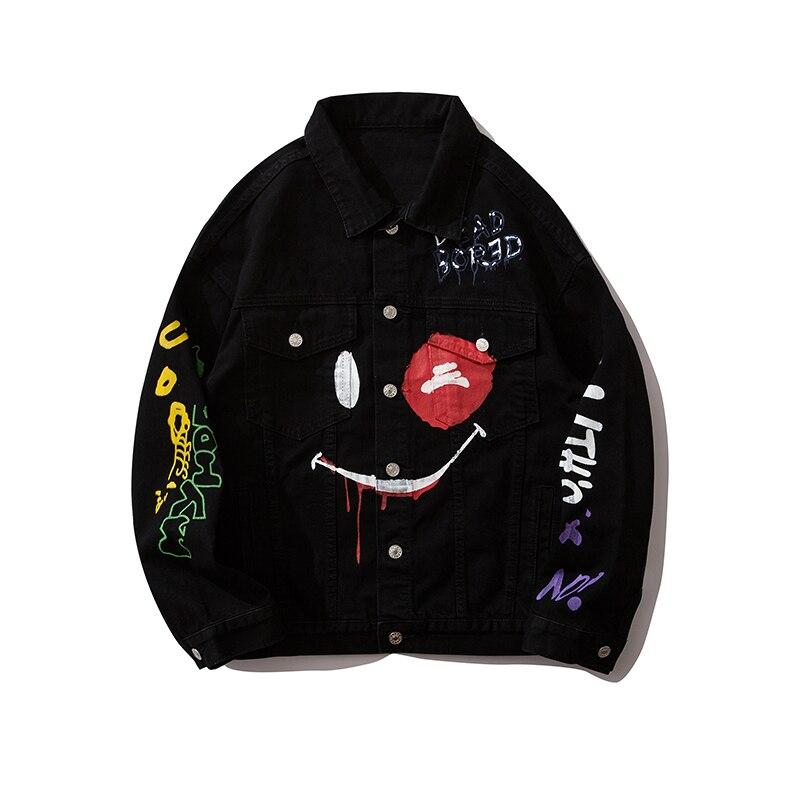 Original Graffiti Jeans Jacket For Men Oversize Streetwear Harajuku Denim Coat Hip Hop Loose Casual Veste Homme Bomber Jacket