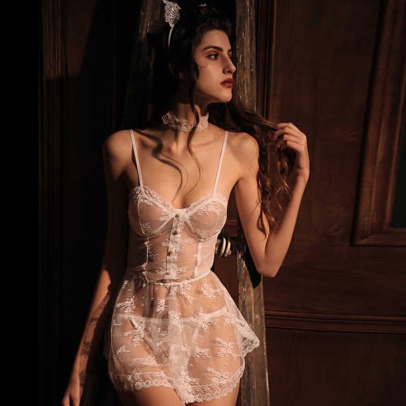 Kobiet koronki Sexy bielizna sukienka uwodzenia bielizna nocna Retro koronki perspektywy Sling koszula nocna koszule nocne kobiety sukienka spania