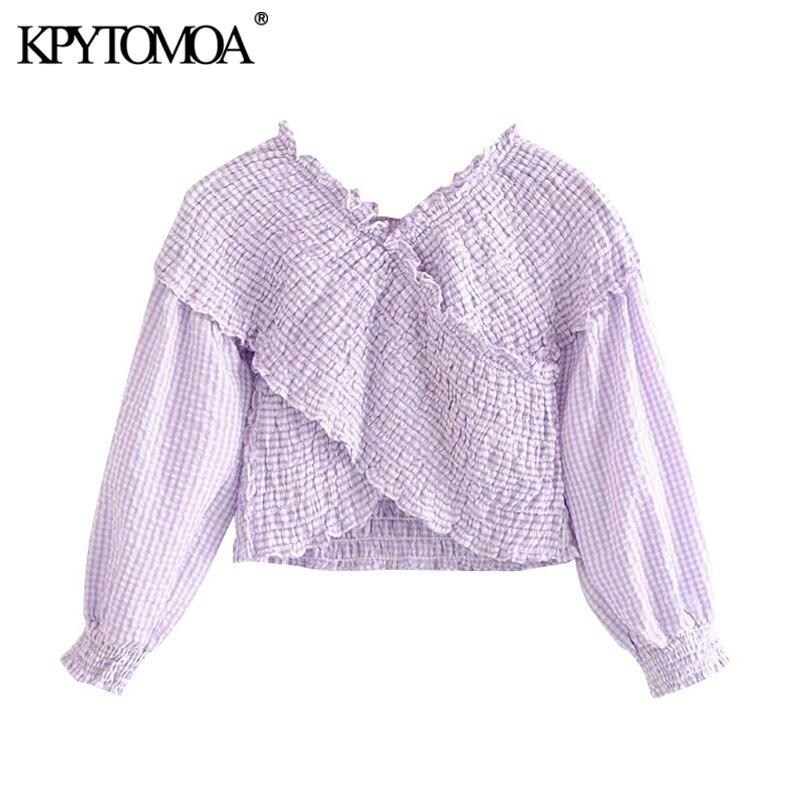 KPYTOMOA Women 2020 Sweet Fashion Smocked Elastic Asymmetric Cropped Blouses Vintage V Neck Long Sleeve Female Shirts Chic Tops