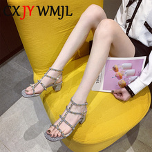 2020 New T Type Double Buckle Rivet Sandals For Women Fashion Gladiator Sandal Woman Summer Footwear Golden High Heels Party 40