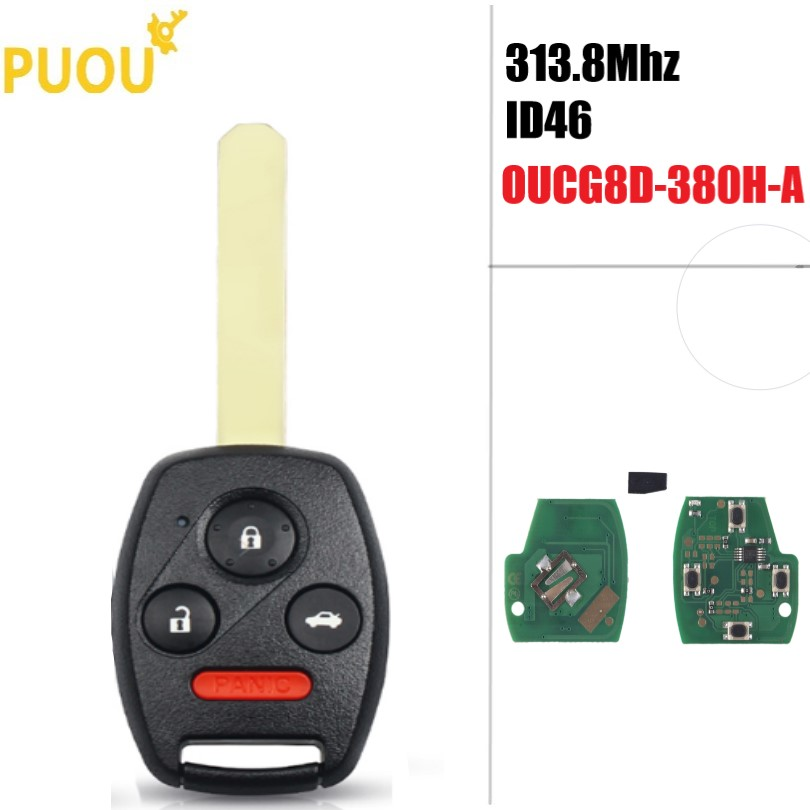 4 3 + 1 button Remote Key Fob 313,8 Mhz ID46 Chip für <font><b>Honda</b></font> <font><b>Accord</b></font> Civic <font><b>2003</b></font> 2004 2005 2006 <font><b>2007</b></font> OUCG8D-380H-A image