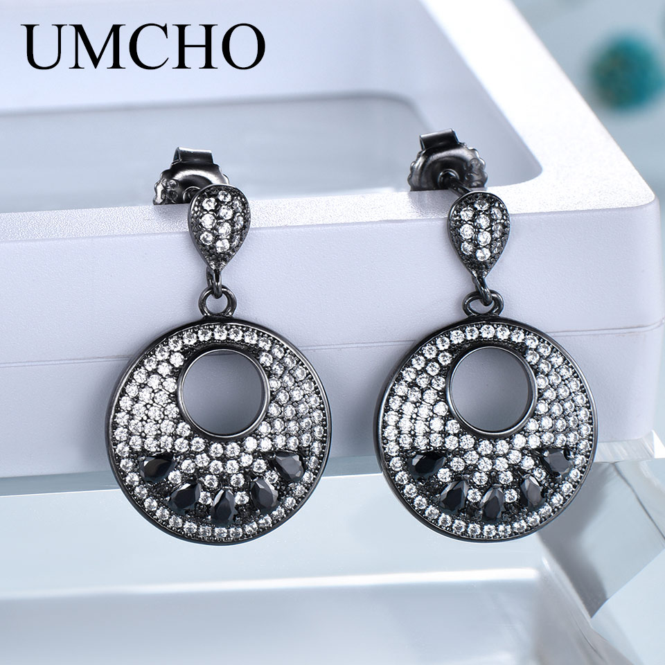 UMCHO Black Spinel Jewelry Solid 925 Sterling Silver Gemstone Drop Earrings For Women Unique Anniversary Gift Fine Jewelry
