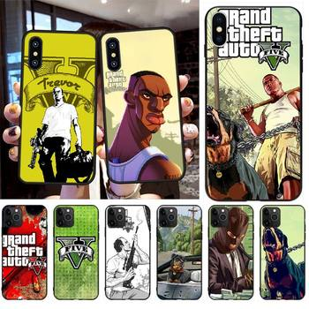 PENGHUWAN Hot Grand Theft Auto GTA 5 Black TPU Soft Phone Case Cover for iPhone 11 pro XS MAX 8 7 6 6S Plus X 5S SE XR case image