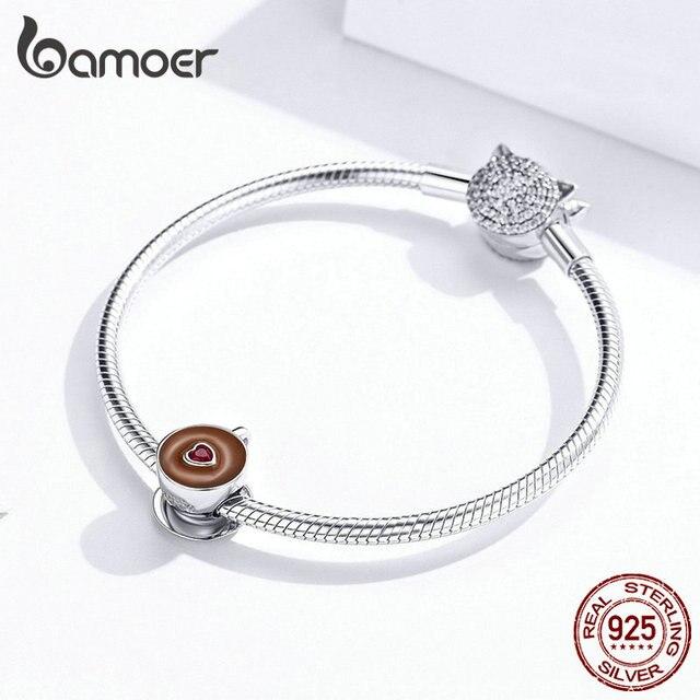 bamoer Coffee Cup Metal Beads for Women European Charm Bracelet 925 Sterling Silver Enamel Fashion Charms Jewelry SCC1286