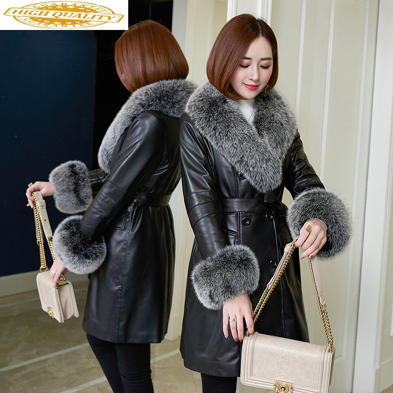 Real Leater Jacket Winter Coat Women Fox Fur Colall Long Down Jacket Women Clothes 2019 Fashion Genuine Sheeps Coat MY
