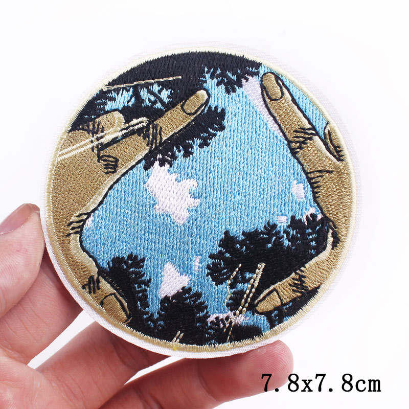 Prajna Mountain Wave Patch Embroidered Patches For Clothing DIY Adventure Camping Stripes Iron On Patches For Clothes Appliques-4