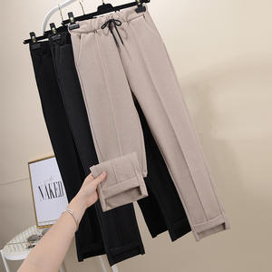 Fashion Women Woolen Pants 2019 Autumn Winter Warm Trousers Elastic Waist Casual Female Solid Loose Pants Pantalon Femme WP83