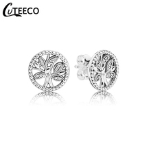 CUTEECO 2019 New Tree Of Life Zircon Stud Earrings Elegant Brand For Women Fashion Jewelry Accessories Gift