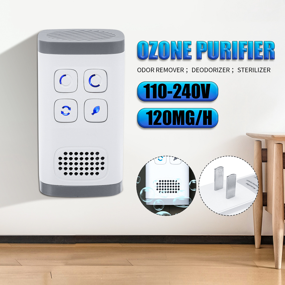 Air Purifier and Ozone Generator with 28 Million Negative Ions for Deodorizing Home and Bathroom 2