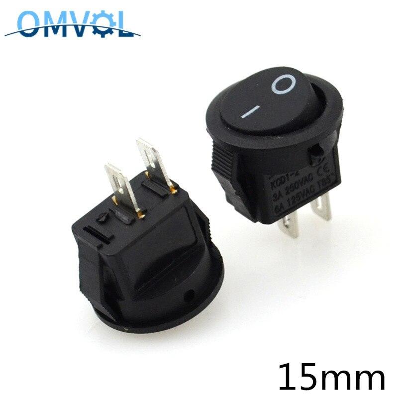 10PCS Small Round Black 2pin Power Switch Rocker Switch 3A 250V Switch