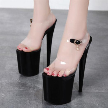 PVC Jelly Sandals Open Toe 20CM Thin High Heels Women Sandals Buckle Strap Open Toed waterproof platform party shoes for women image