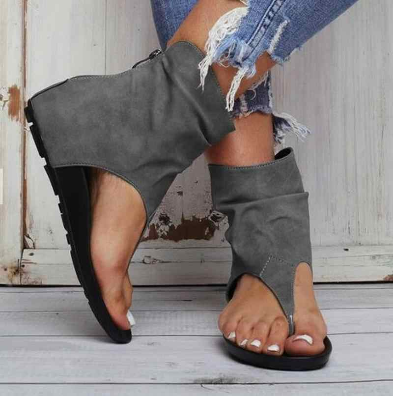 """Phụ Nữ Mùa Hè Đế Dép Giày Người Phụ Nữ Da PU Lật Thông Plus Kích Thước Đơn Giản Sandalias Mujer """"Sapato Feminino N130"""