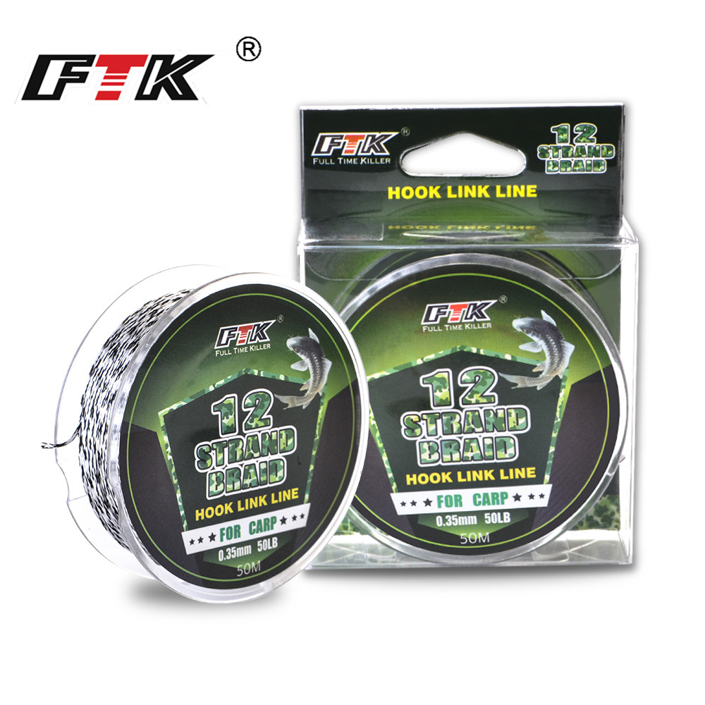 FTK 50M 12 Strands Hook Link Line Multifilament Braided Fishing Line 30LB-50LB PE Fishing Rope Supper Strong Saltwater For Carp