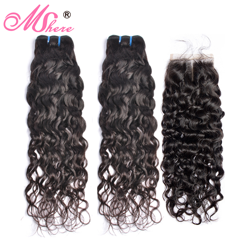 Peruvian Human Hair Bundles With Closure Water Wave 3 Bundles With Lace Closure Mshere Hair Extension Hair Weave