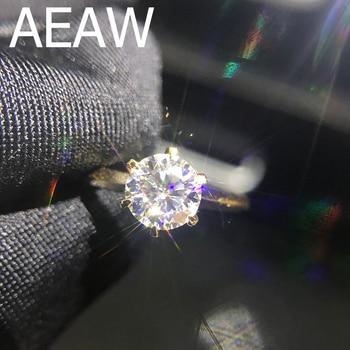 100 ٪ 18K 750Au الذهب 1ct مويسانيتي الاشتباك خاتم الماس D اللون VVS مع شهادة وطنية للمرأة