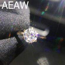 100% 18K 750Au الذهب 1ct مويسانيتي خاتم ألماس للخطوبة الدائري D اللون VVS مع شهادة وطنية للنساء