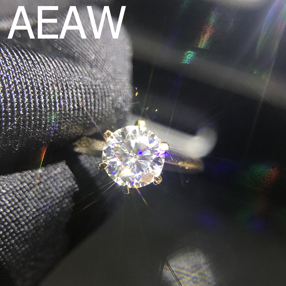 100% 18K 750Au Gold 1ct Moissanite Engagement Diamond Ring D Color VVS With National Certificate For Women