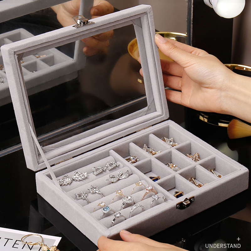 Hot Sales Fashion Portable Velvet Jewelry Ring Jewelry Display Organizer Box Tray Holder Earring Jewelry Storage
