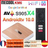 Mecool-Dispositivo de TV inteligente KM6, decodificador con Android 10, Amlogic S905X4, 4GB, 64GB, Wifi 6, BT5.0, soporte de voz certificado por Google, AV1, USB3.0, 1000M