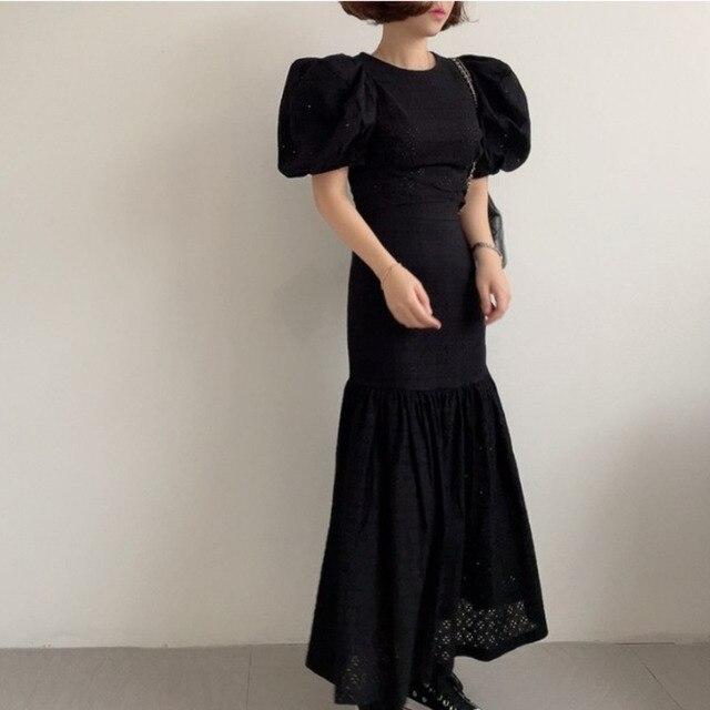 [EWQ] Pleated Ruffles High Elastic Waist Half-body Skirt Women Casual Tide New Summer 2021 Puff Sleeve Blouse White 2-piece Set 5