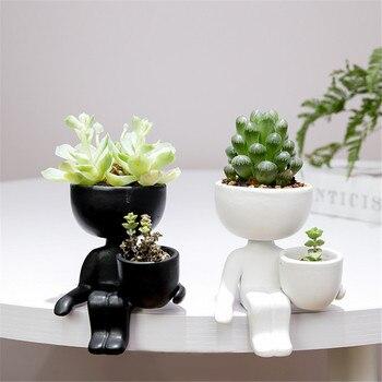 Creative Humanoid Ceramic Flower Pot Vase Plant Pot Ceramic Crafts Fleshy Flower Vase Home Decoration