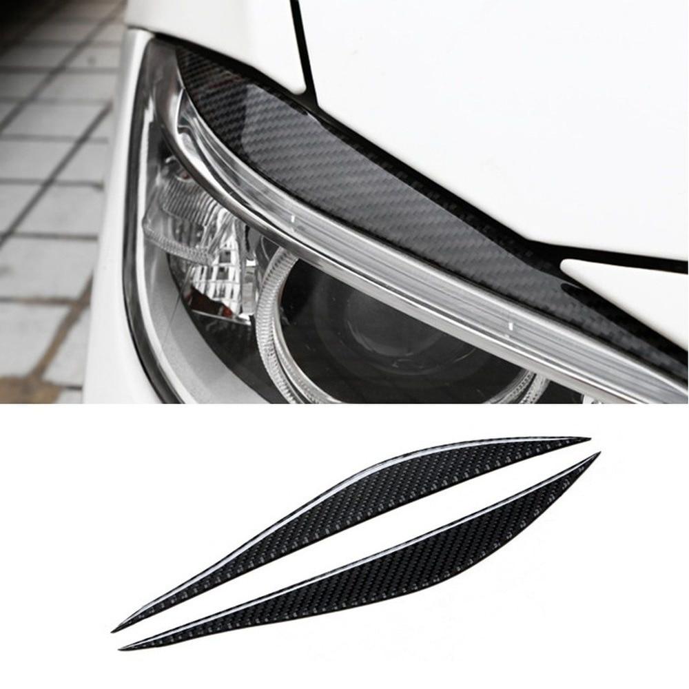 Автомобильная наклейка из углеродного волокна, 2 шт., налобный фонарь для бровей, передний налобный фонарь, веки, отделочные полосы для BMW F30 ...