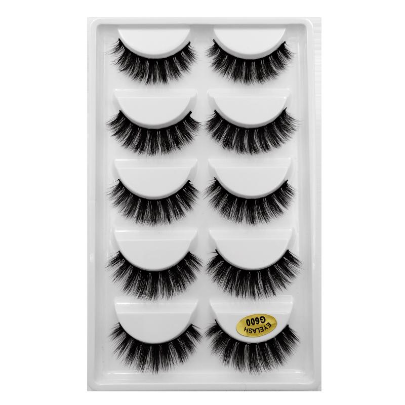 SDSP 5 Pairs Multipack 3D Mink Hair False Eyelashes Soft Lash Wispy Fluffy Long Lashes Natural Eye Makeup Tools Faux Eye Lashes
